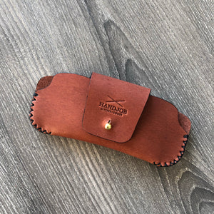 British tan leather sunglasses case