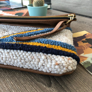 Punch Embroidered Stripes Boho Clutch