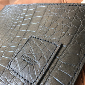 Black Croc Embossed HJ Leather Utility Clutch