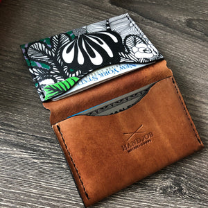 Modern Bi-fold 4 Pocket Leather Wallet With Green Botanicals Pocket
