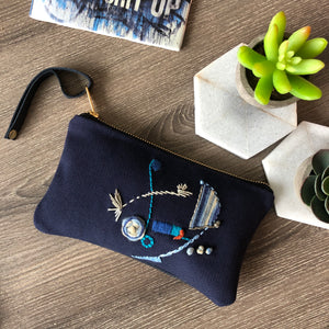 Embroidered Navy Leather Clutch