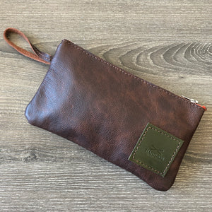Brown Leather Utility Clutch