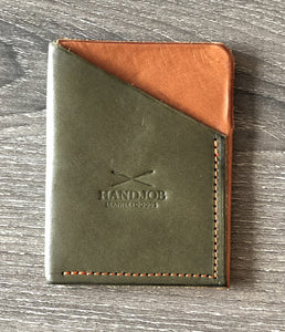 Small Card Holder/Wallet Hunter Green Orange Leather