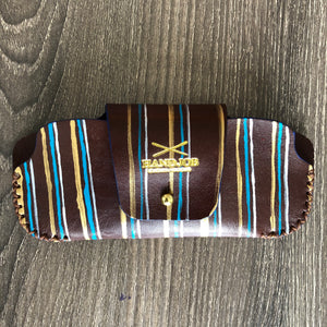 Gold, Teal & Silver Sunglasses Leather Case