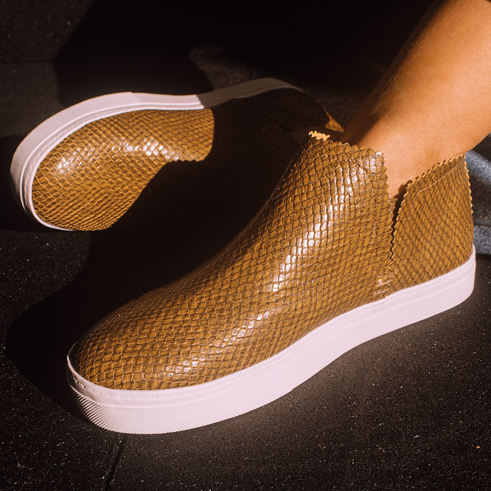 Ankle Amora^^ - Couro Snake Mustard