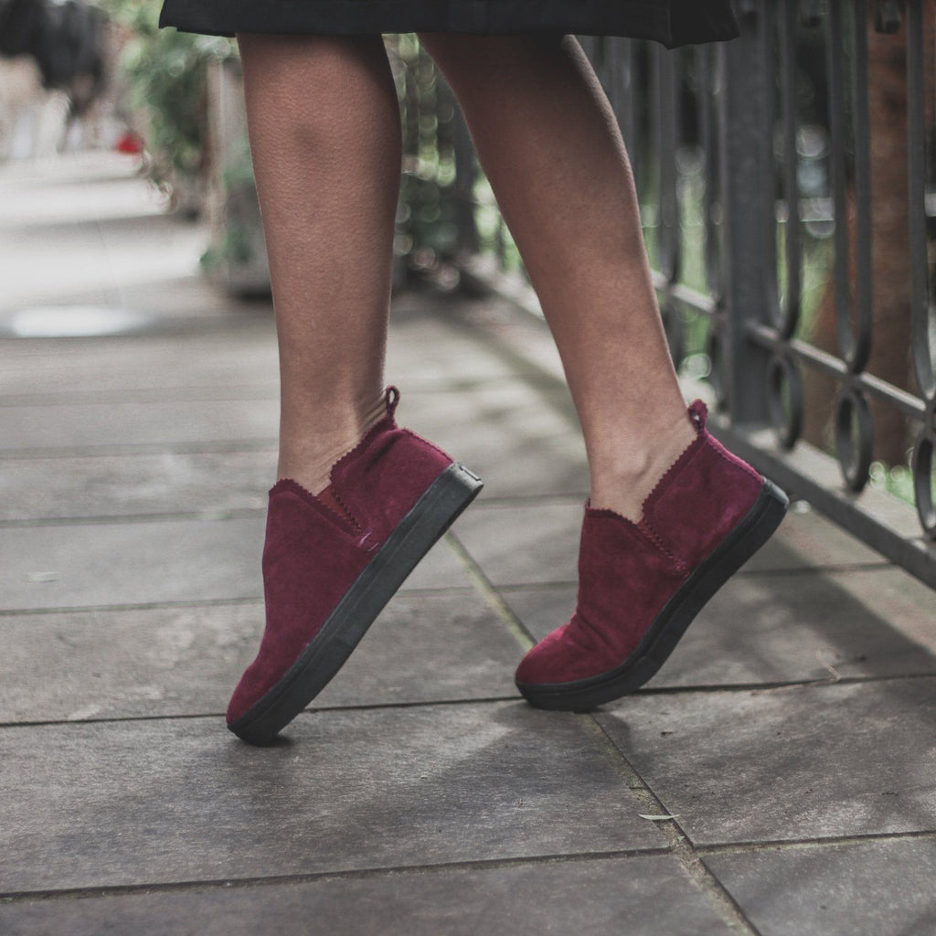 Ankle Amora^^ - Couro Suede Burgundy