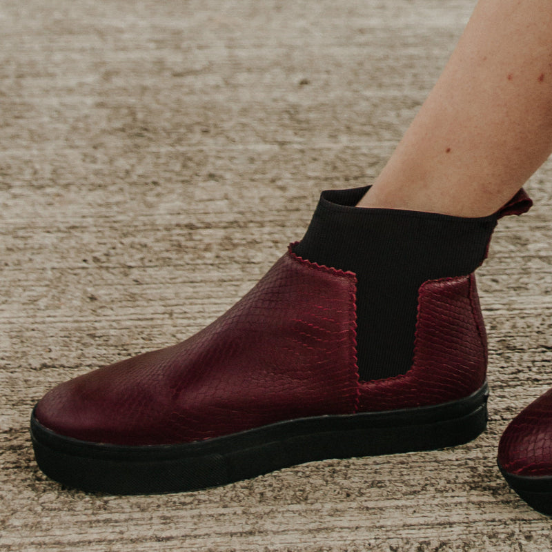Ankle Lucy^^ - Couro Snake Burgundy