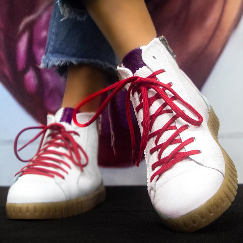 Ankle Lupi^^ - Couro Floater White / Grape / Vermelho / Sola Natural