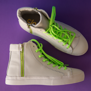 Ankle Lupi^^ - Couro Floater White / Neon Green