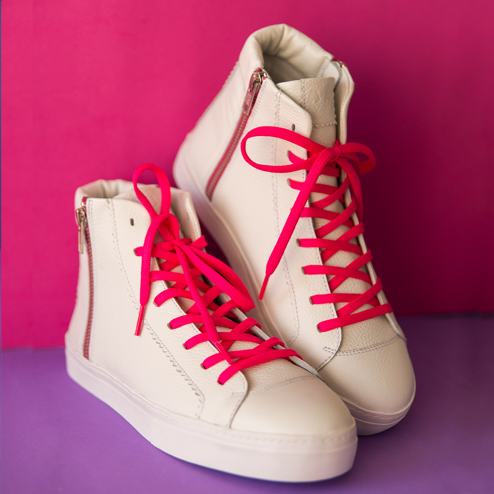Ankle Lupi^^ - Couro Floater White / Neon Pink