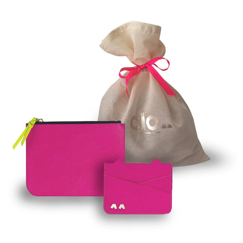 KIT 1 - Necessaire Alca^^ + Carteira Moana^^ - Couro Floater Pink