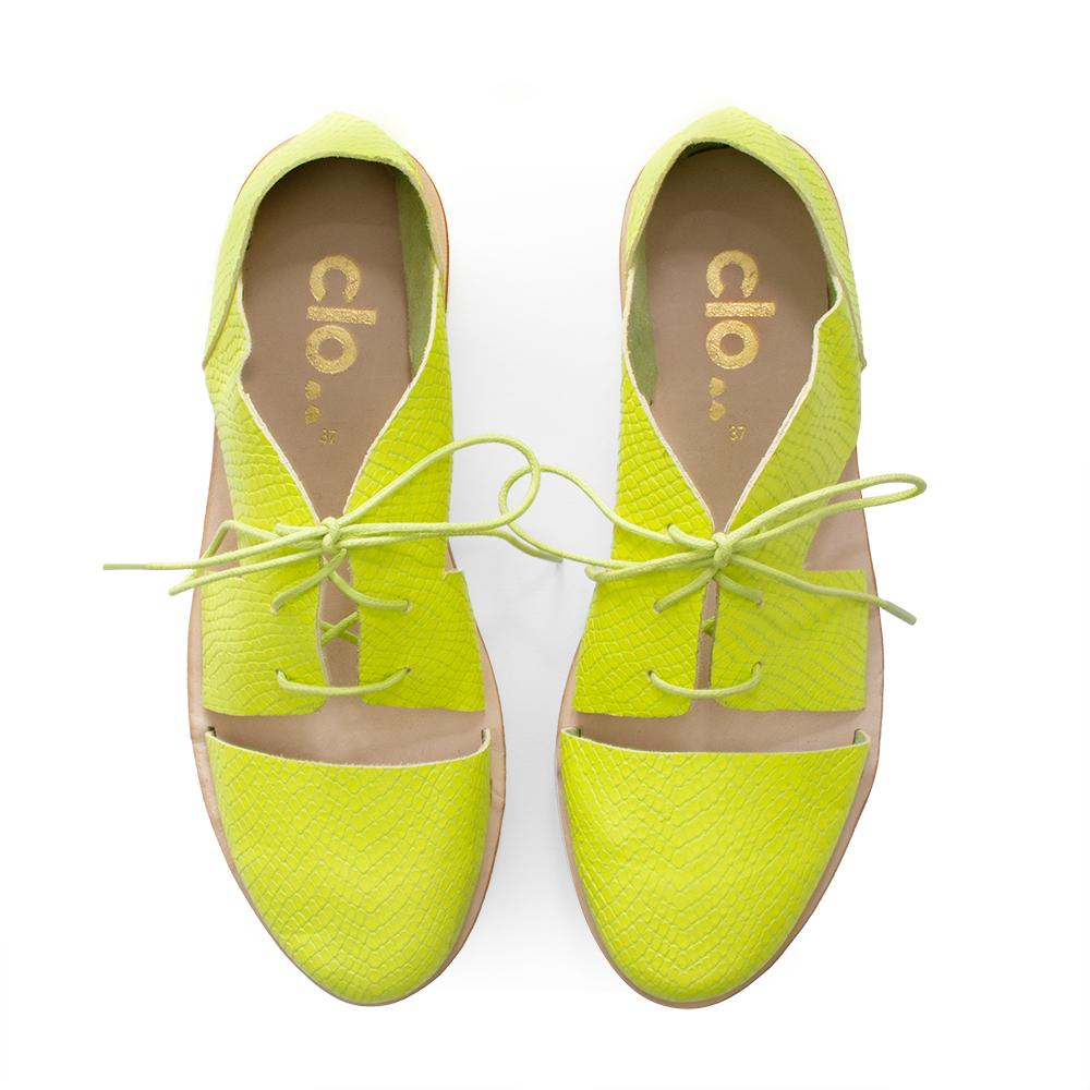 Oxford Magui^^ - Couro Escamado Neon Yellow