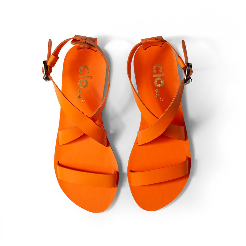 Rasteira AMY^^ - Couro Neon Orange