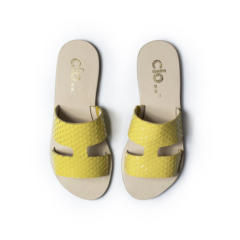 Rasteira MALU^^ - Couro Mini Escama Yellow
