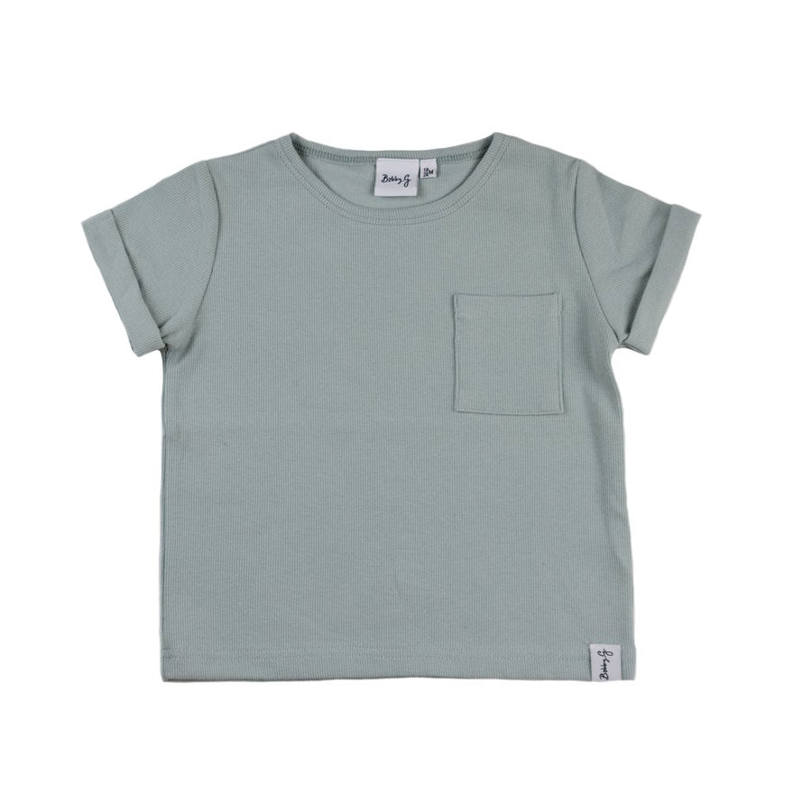 Ribbed Box Tee in Powder Blue