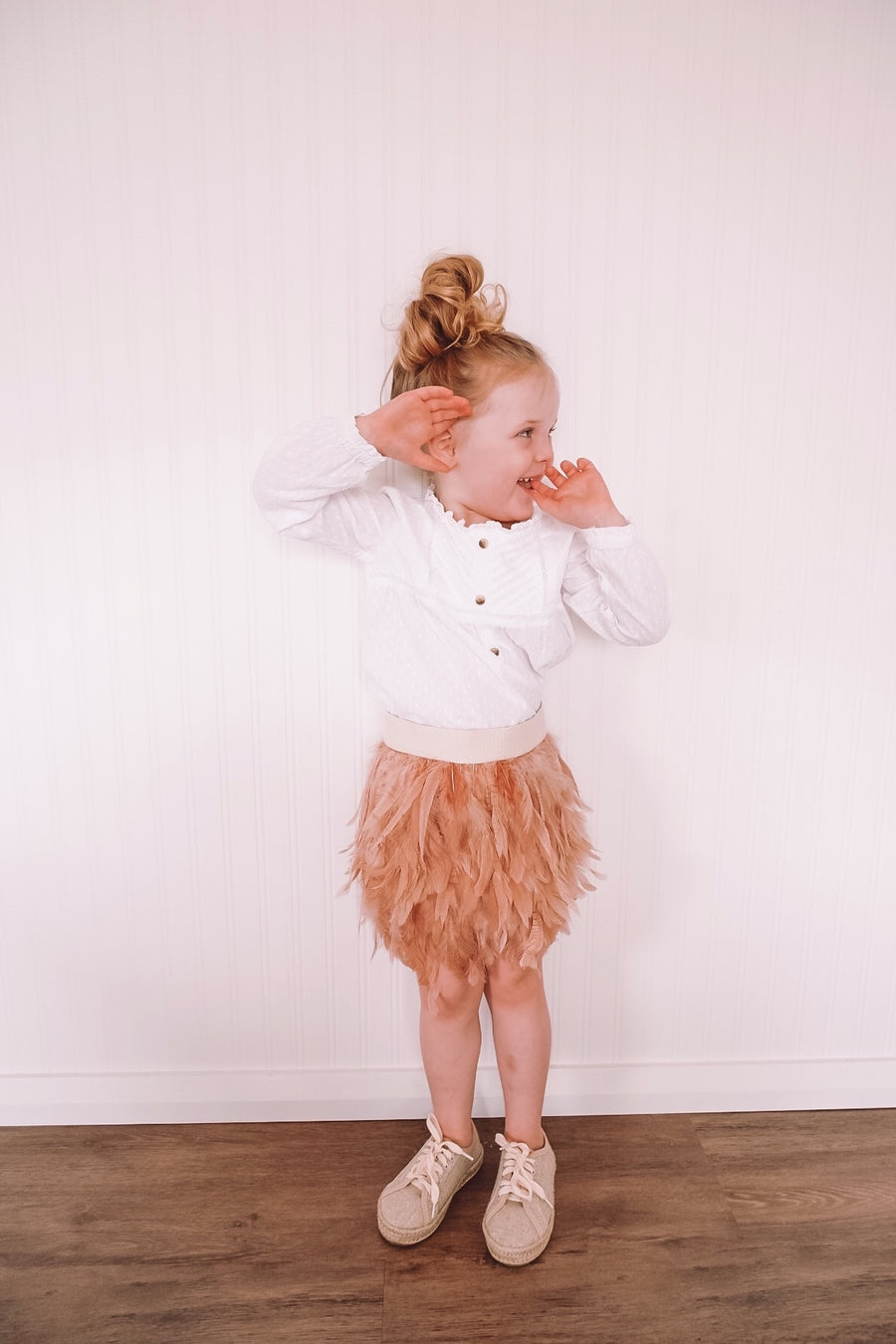 Feather Skirt in Peaches