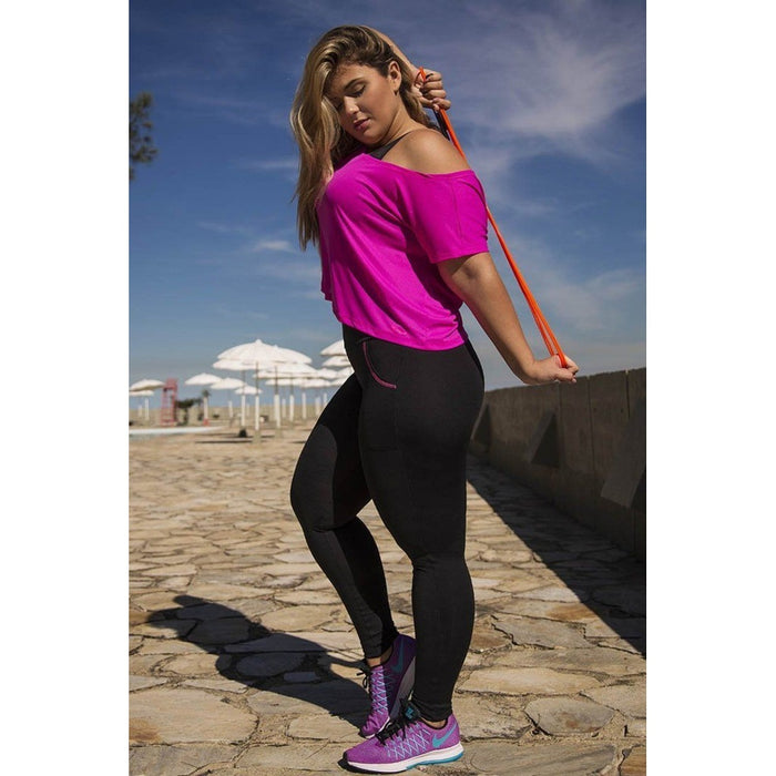 Black With Pink Pocket Legging