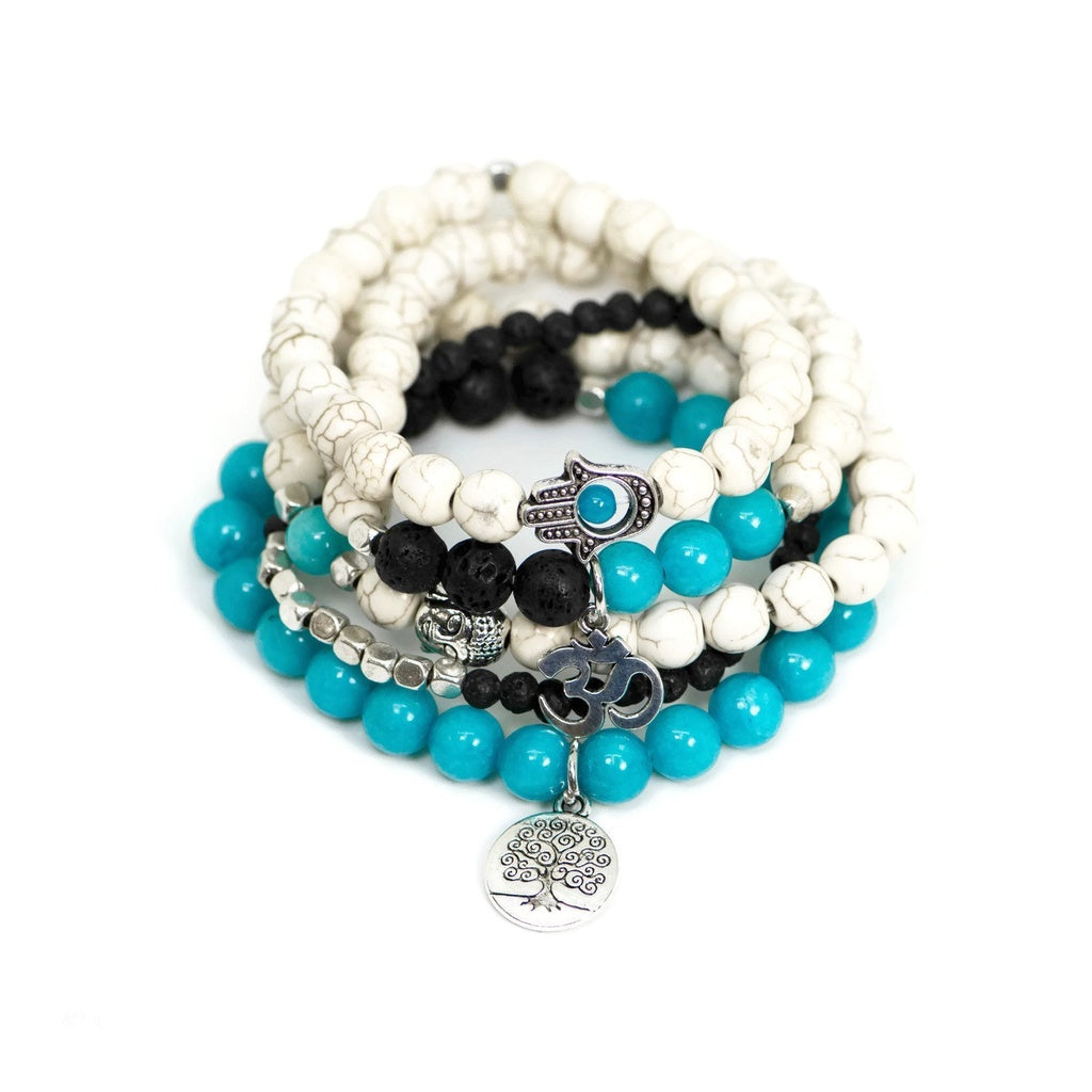 Blue Jade Natural Stone Tree of Life, Buddha, Hamsa & Ohm Charms Yoga Mala Bracelet Set