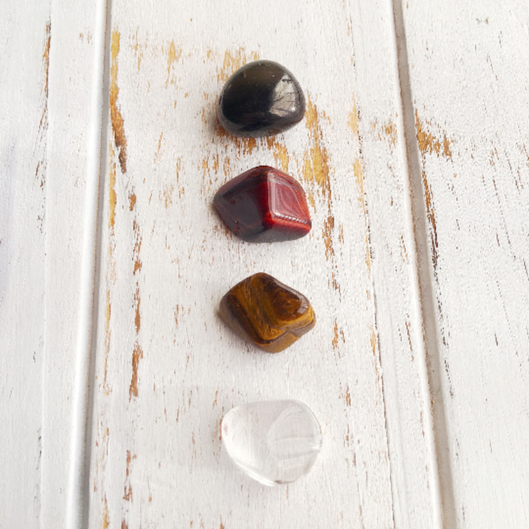 Focus & Concentrate Harder * 4 Piece Stone Set * Black Onyx, Red Tiger Eye, Tiger Eye & Crystal Quartz * Reiki Charged