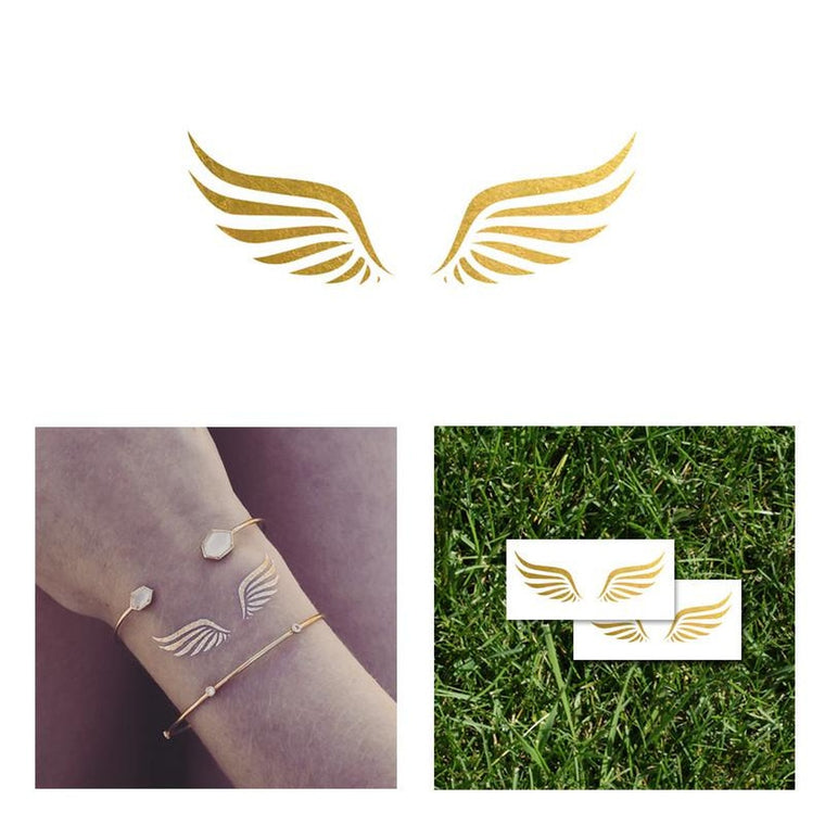 2 PACK Wings Gold Metallic Temporary Tattoo