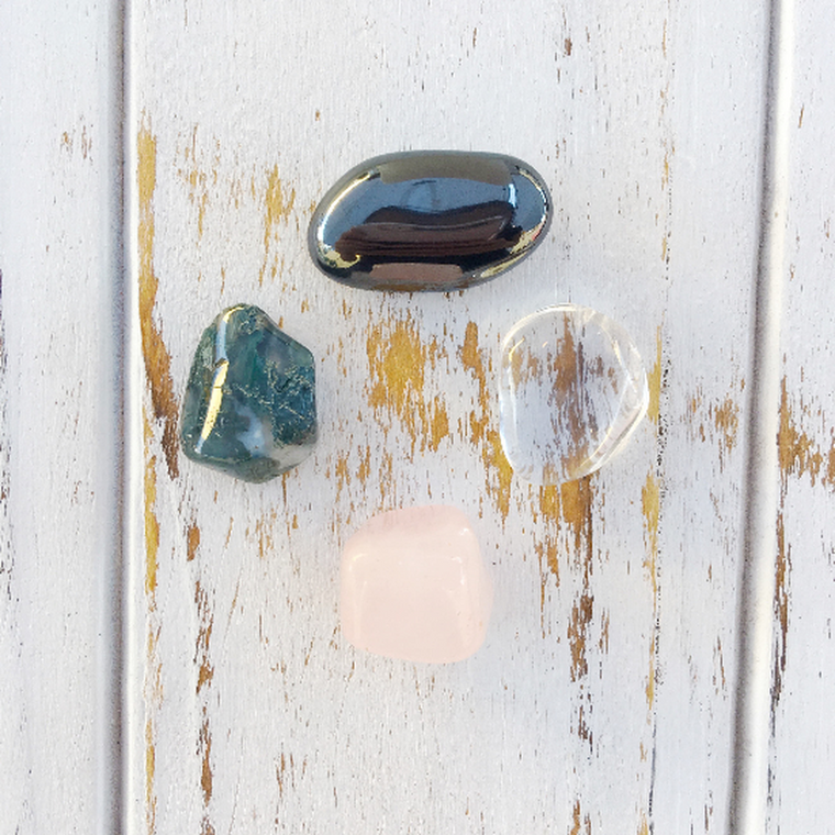 Boost to Self-Confidence * 4 Piece Stone Set * Rose Quartz, Hematite, Crystal Quartz & Moss Agate * Reiki Charged