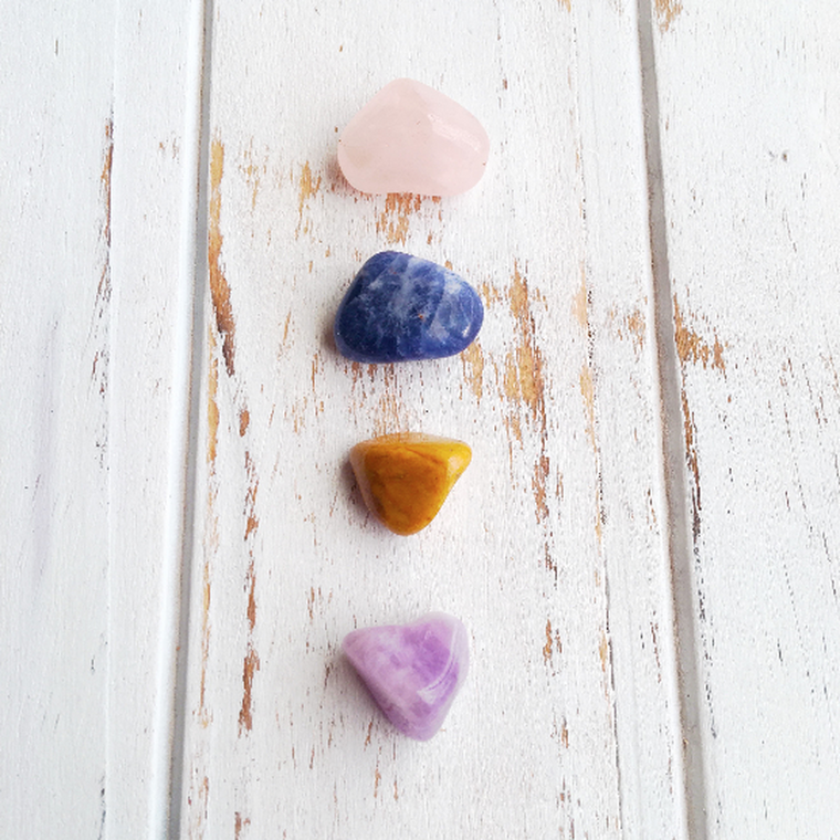 Forgiveness, Love, Compassion & Understanding Set * Rose Quartz, Sodalite, Amethyst & Yellow Jasper * Reiki Charged