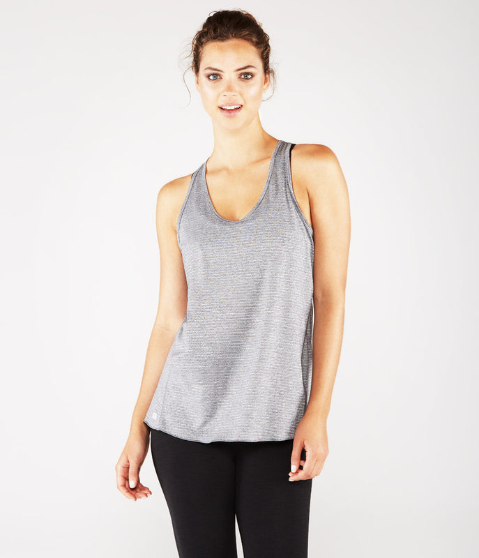 MANDUKA Kosha Open Back Tank - Heather Grey