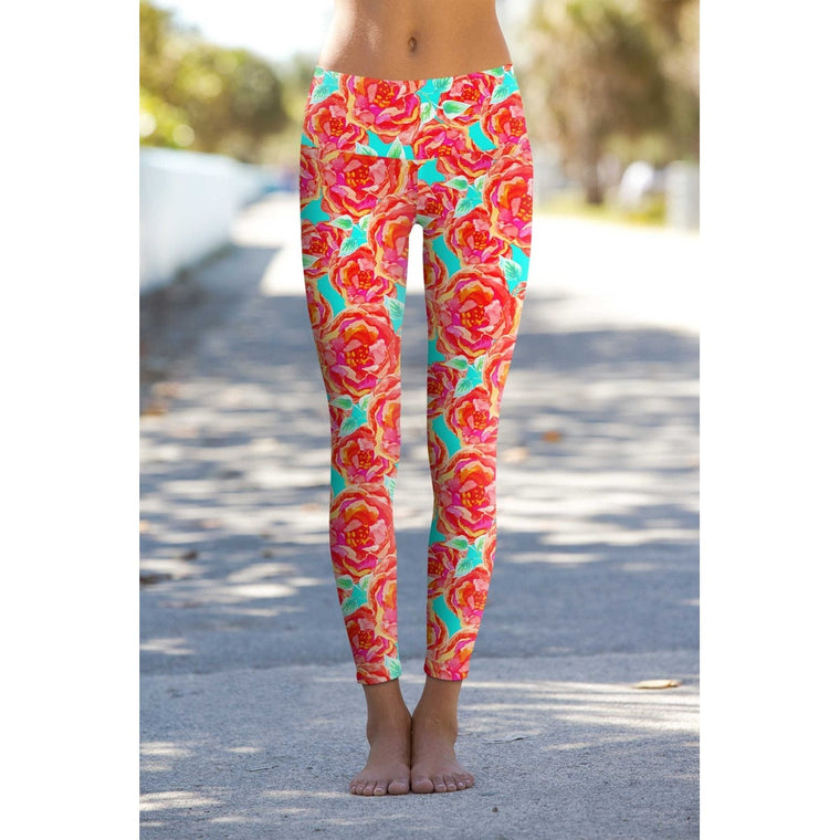 Oh So Sassy Lucy Floral Print Performance Leggings - Women