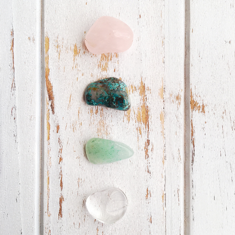 Attract Luck in Love * 4 Piece Stone Set * Rose Quartz, Chrysocolla, Quartz & Aventurine * Reiki Charged