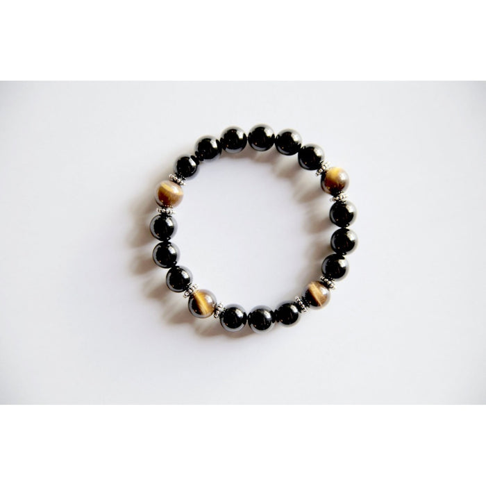 Genuine Black Onyx & Tiger's Eye Bracelet w/ Sterling Silver Accents~ Focus, Protection and Luck