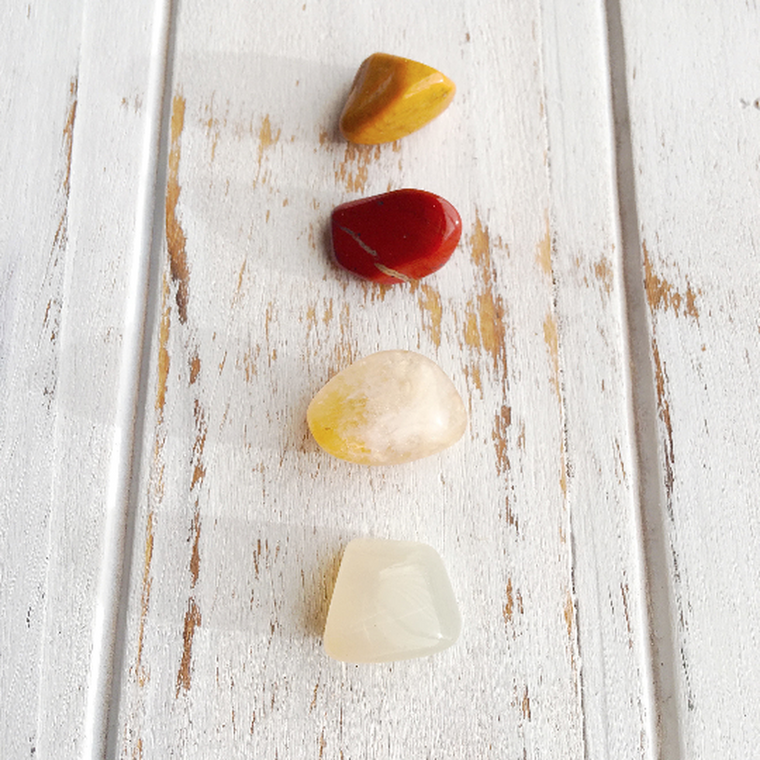 Boost Personal Growth * 4 Piece Stone Set * Yellow Jasper, Red Jasper, Citrine & Moonstone * Reiki Charged
