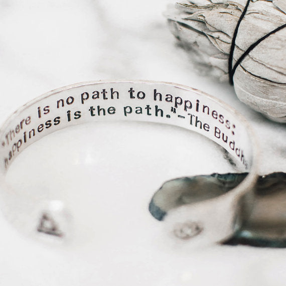 Happiness is the path inspirational Buddha quote bracelet.