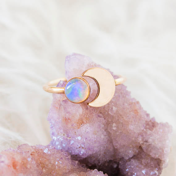 Connect with your inner goddess with this dreamy gold crescent moon ring...