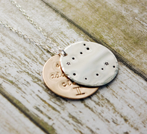 Gemini Zodiac Constellation Necklace With Traits.