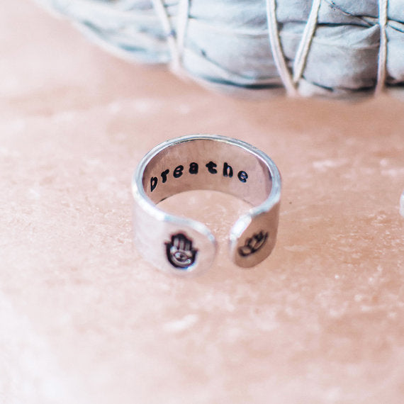 This inspirational hand stamped quote ring holds a secret message for yo...