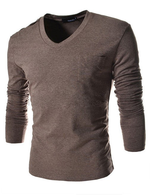 Fit Slim Pocket T-Shirt Men Solid Top Tees Casual Fashion 4 Color
