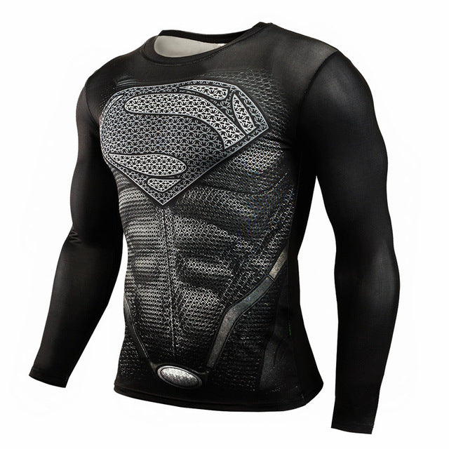 Compression 3D Print Superhero Long Sleeve