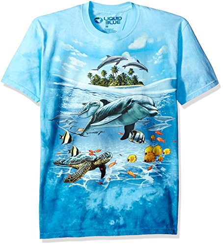 Liquid Blue Men's Dolphin Domain T-Shirt, Tie Dye/Multi, Large