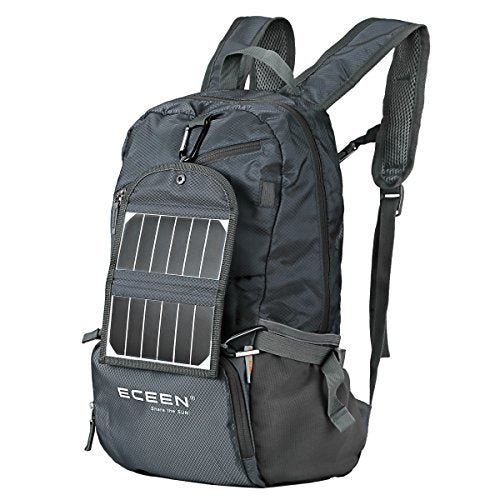 ECEEN Hiking Daypacks with Solar Charger for Phone, Hiking, Travel, Backpacking, Biking, Camping - Folds Up into Carry Pouch - Power for Smart Cell Phones, Speaker