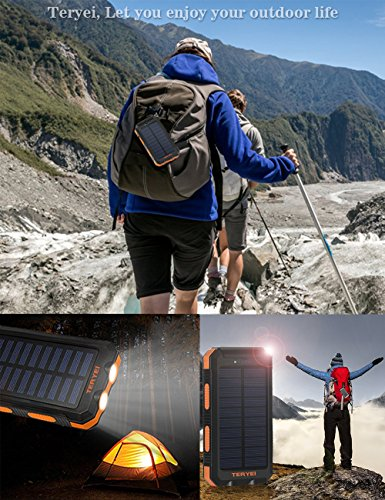 Solar Charger Teryei Solar Power Bank 15000mAh External Backup Outdoor Cell Phone Battery Charger with Dual USB Port,Dual LED Flashlights,Solar Panel for iPhone,Samsung,Emergency Camping Travel