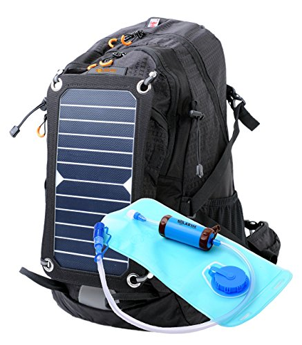 SolarSak External Frame Camping / Hiking Hydration Backpack With Water Filtering System - Water Resistant and Includes a 7W Solar Panel Charger - Perfect for Charging Phones and Other 5V Electronics
