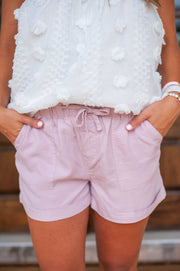Feeling At Ease Mauve Linen Shorts