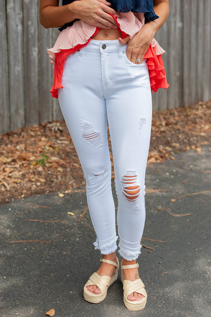 Risking it All Distressed White Jeans