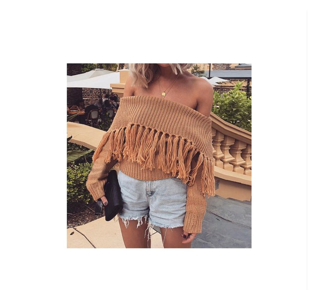 Off The Shoulder Fringe Sweater Top - NaturaleeChicBoutique