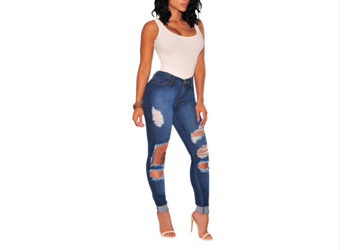 Bella Distressed Ripped Denim Jeans