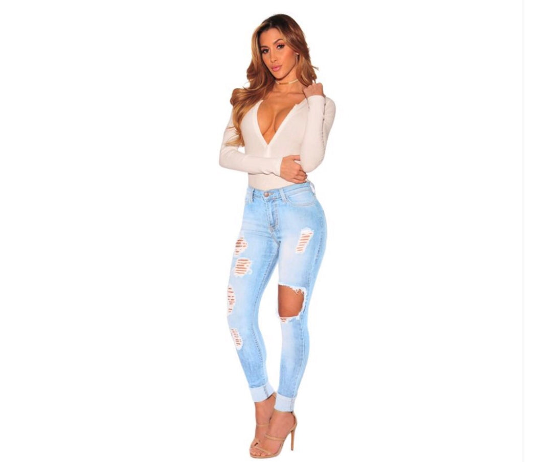Hallow Hilary Light Blue Chambray Denim Jeans