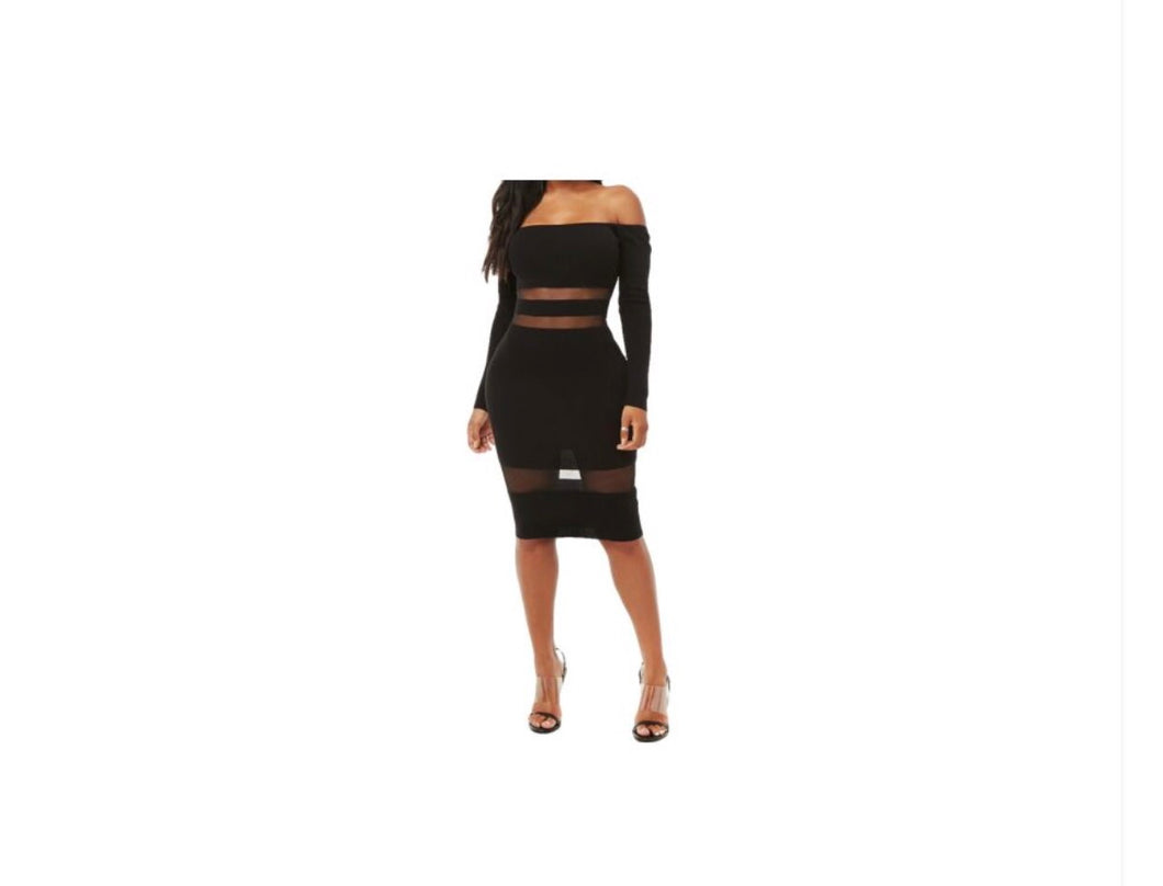 Black Mesh Bodycon Dress - NaturaleeChicBoutique