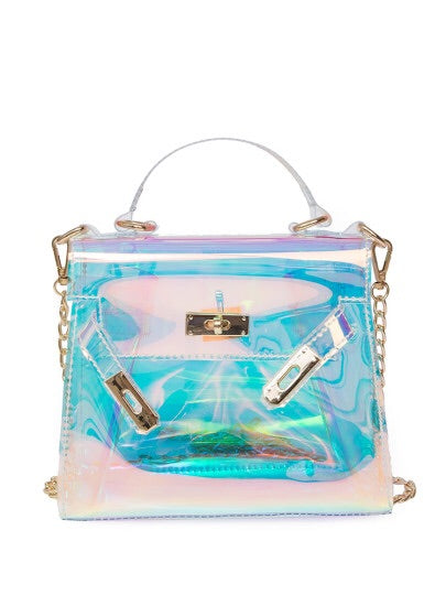 Opaque Lake Clear PVC Satchel - NaturaleeChicBoutique
