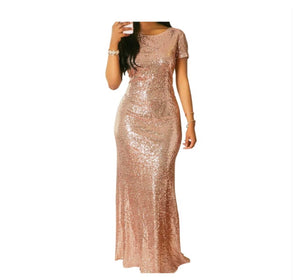 Champagne Gold Sequin Ball Dress - NaturaleeChicBoutique