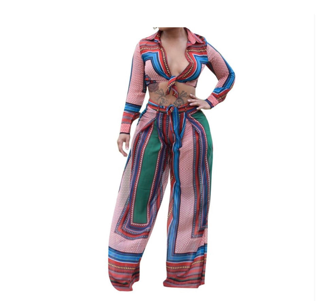 Tribal Run Two Piece Flare Pants Set - NaturaleeChicBoutique